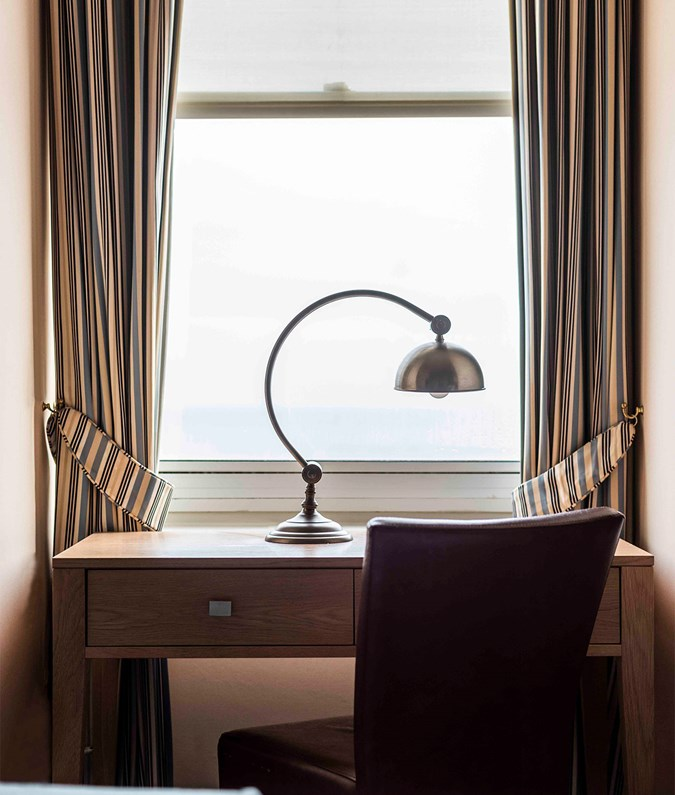 The Brudenell Hotel, Aldeburgh, lamp and desk, sea views