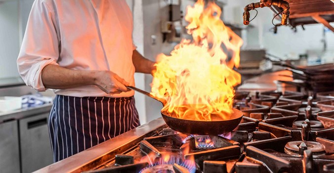 The Brudenell Hotel, Seafood & Grill, pan with flames