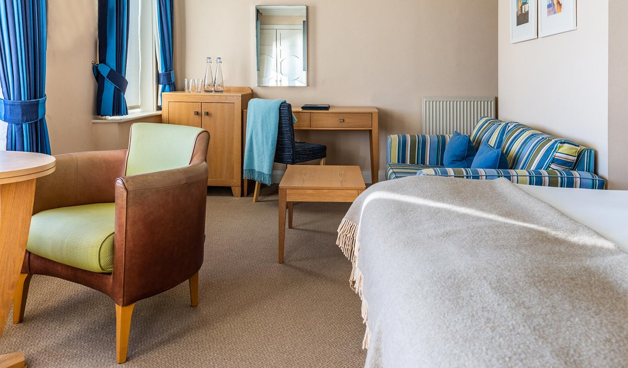 The Brudenell Hotel, Aldeburgh, view of room and seating area