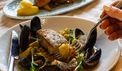 The Brudenell Hotel, Seafood & Grill, fresh produce for razor clam dish